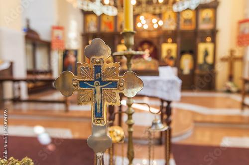 Obraz na plátně Serbian Orthodox Church, Orthodox christening ceremony prepare, Orthodox Church