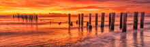 Scenic Art Sunset At Famous Old Naples Pier, Florida, America. Travel Concept.
