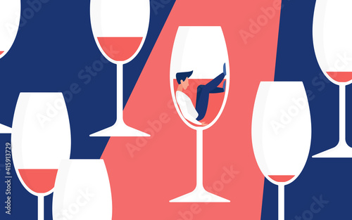 Alcohol addiction concept vector illustration. Cartoon man addict drinker character sitting in glass for red wine drink, alcoholism metaphor and hangover illness, social bad habit problem background © lembergvector