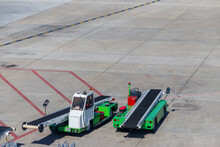 Belt Luggage Loader Vehicles In The Airport