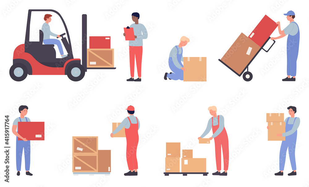 Fototapeta Warehouse workers doing job set. Cartoon flat worker staff people work, load packages and containers loading warehousing process isolated on white
