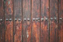 Antique Wooden Door With Metal Rivets