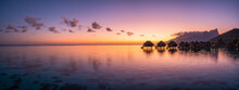 Panoramic Sunset View At A Luxury Beach Resort In The Tropics