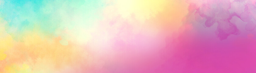 Colorful watercolor background of abstract sunset sky with puffy clouds in bright rainbow colors of pink blue yellow orange and purple