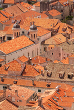 Croatia, Dubrovnik. Historic Walled City And UNESCO World Heritage Site, Red Tile Roofs.