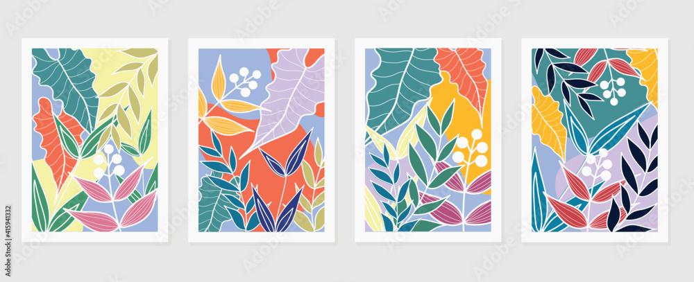 Fototapeta summer tropical wall arts vector. Palm leaves, monstera leaf, Botanical  background design for wall framed prints, canvas prints, poster, home decor, cover, wallpaper.