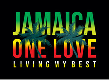 Jamaica One Love, Typography Design For T Shirt, Vector Illustration