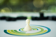 White Pawn Chess Piece Standing In Circle Business Chart. Business Leader Concept For Market Target Strategy With Copy Space For Text.