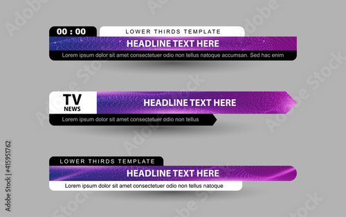 Fototapeta Set collection vector of Broadcast News Lower Thirds Template layout design banner for bar Headline news title, sport game in Television, Video and Media Channel obraz