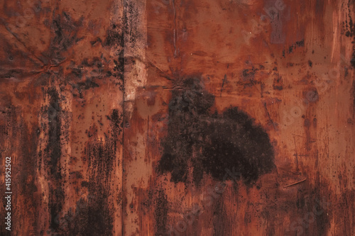 Multicolored background:rusty metal surface with peeling and cracking brown paint Natural defects Scratches,cracks,crevices,chips,dust,roughness,abrasion Wallpaper Mural