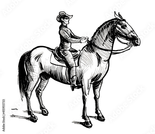 American cowboy riding a horse. Ink black and white drawing Fototapeta
