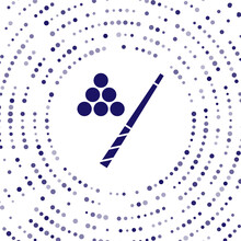 Blue Billiard Cue And Ball Icon Isolated On White Background. Abstract Circle Random Dots. Vector.