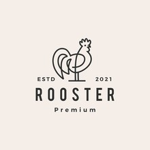 Rooster Monoline Outline Hipster Vintage Logo Vector Icon Illustration