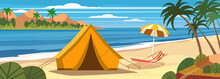 Summer Vacation. Tourist Tent Camping On The Tropical Beach, Palms. Summer Vacation Coastline Beach Sea, Ocean, Travel. Vector Poster Banner, Illustration