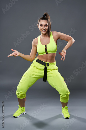 Fototapeta premium Plus size woman doing fitness exercises