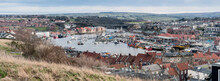 Panorama View Of The Town And Harbour Of Whitby, North Yorkshire, UK