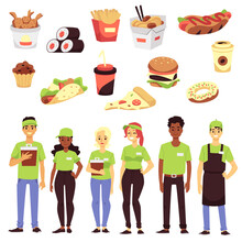 Set Of Icon For Fast Food Restaurants - Takeaway Food And Team Of Workers.