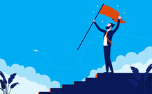 Career Goals - Man Taking Steps To Success, Climbing The Corporate Ladder And Waving Flag On Top. Vector Illustration.