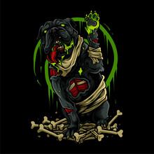 Zombie Dog Halloween Illustration Design