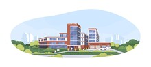 Modern Building Exterior Of Municipal Hospital, Clinic Or Medical Center With Ambulances And Patients. Colored Flat Graphic Vector Illustration Of Health-care Facility Isolated On White Background