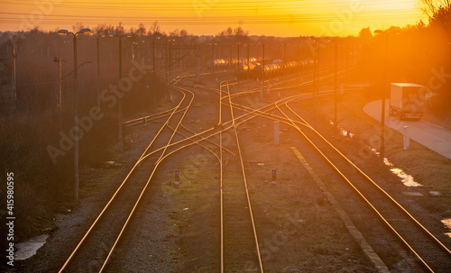 Railway junction and standing tanks at sunset © Mike Mareen