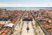 Aerial View Of Rossio Square, During Covid19, In Lisbon, Portugal