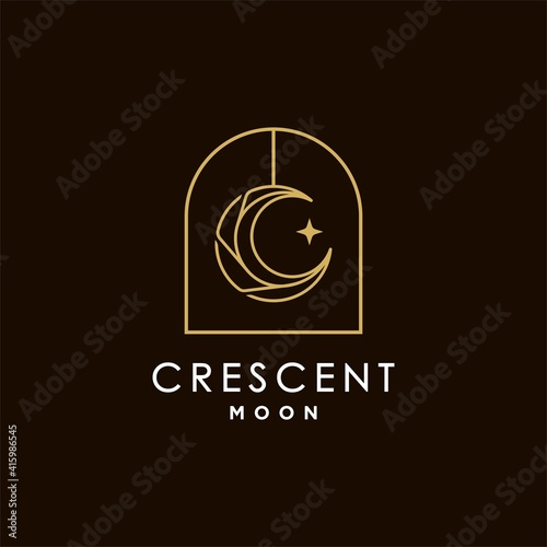 Fotografiet minimalist crescent moon and star logo design line icon vector in luxury boho style outline linear Illustration, moslem moon mosque logo vector