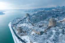 Aerial View Of Rumeli Hisarı Castle And The Bosphorus On A Snowy Day, İstanbul.