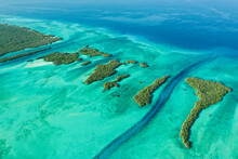 Aerial View Of The Islets In The West Channels, Aldabra Atoll, Seychelles.