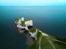 Aerial View Of The Iconic Landmark Of Old Harry Rocks And Its White Cliffs Made Of Chalk In Studland, Dorset, United Kingdom.