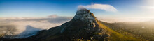 Panoramic Aerial View Of Lion's Head Mountain Hiking Trail At Sunrise Cape Town, South Africa