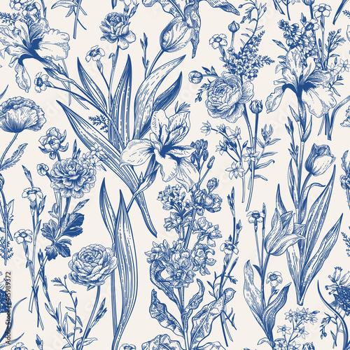 Floral seamless pattern. Flowering.