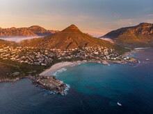 Aerial View Of Llandudno Beach At Sunset, Cape Town, South Africa