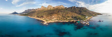 Panoramic Aerial View Of Scenic Beach Road Along Atlantic Ocean Going Past Twelve Apostles And Lions Head, Victoria Road, Oudekraal, Cape Town, South Africa