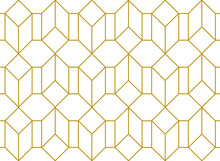 3d Effect Hexagonal And Rectangular Cuboid Shapes In A Repeating Pattern In Gold Outline Against A White Background, Geometric Vector Illustration