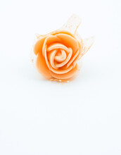 Orange Flower On A White Background. It Can Be Used As A Greeting Card On Which You Will Write Anything In The Empty Part Under The Flower.