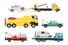 Help Lorry, Rescue Assistance Freight Trailer Truck Set. Emergency Trucking Vehicle, Wreck And Crash Aid, Towing Auto Service, Automotive Transportation Platform Vector Illustration Isolated On White