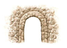 Old Stone Arch. Hand Drawn Watercolor Illustration Isolated On White Background