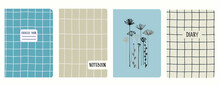 Cover Page Templates With Hand Drawn Apiaceae Flowering Plant, Grid, Plaid. Based On Seamless Patterns. Headers Isolated And Replaceable. Perfect For School Notebooks, Notepads, Diaries