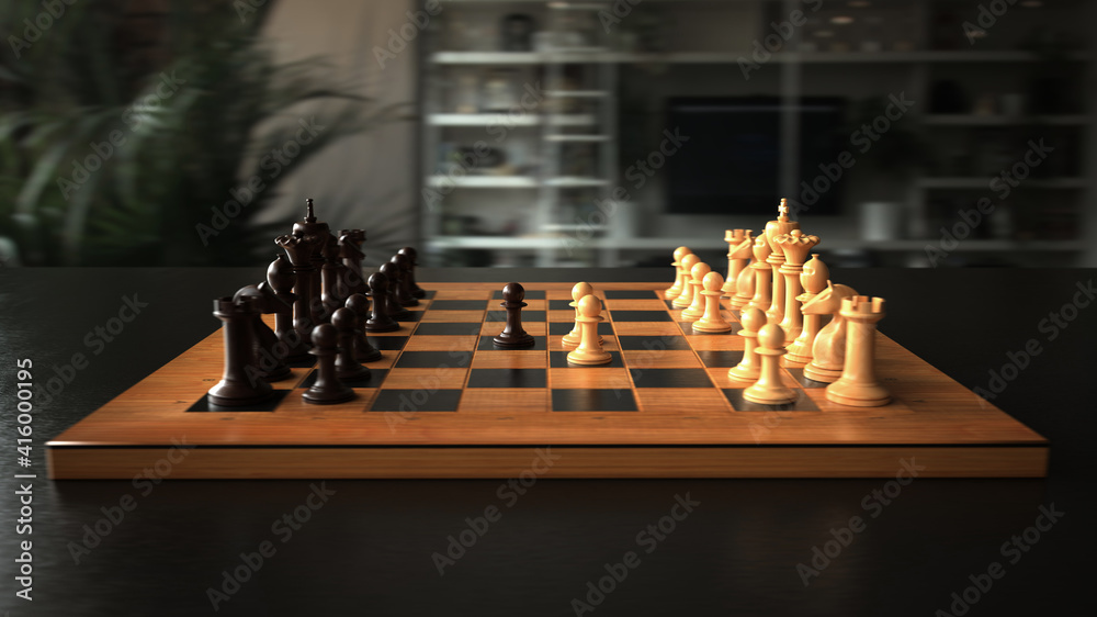 Fototapeta The first move in chess. 3d illustration.