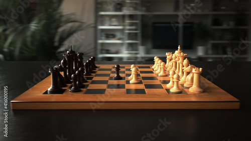 Photographie The first move in chess. 3d illustration.
