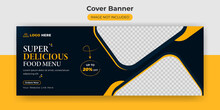 Facebook Cover Banner Food Advertising Discount Sale Offer Template Social Media Food Cover Post Design