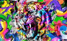 Tiger Head With Creative Abstract Elements On Colorful Background