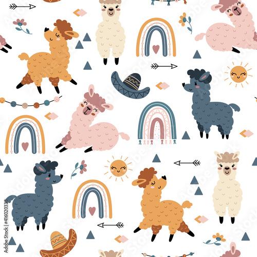 Fototapeta premium Seamless pattern with llama