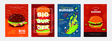 Trendy Poster Designs With Burger And Ingredients Vivid Brochures For Fast Food Cafe Or Restaurant