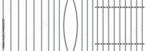Billede på lærred Set of realistic prison metal bars isolated on white background