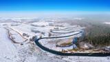 Zima na Warmii w północno-wschodniej Polsce. Rzeka Łyna