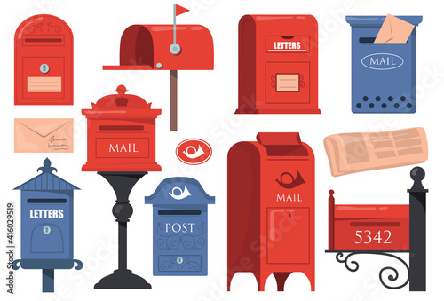 Fotografie, Obraz Traditional English Letterboxes Set Red Blue Vintage Mailboxes Old Postboxes Wit