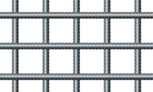 Vector Illustration Seamless Grid From Reinforced Rebars On White Background. Realistic Seamless Pattern Construction Reinforcement Rebars. Endless Stainless Armature Background. Building Material.
