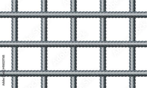 Fotografia Vector illustration seamless grid from reinforced rebars on white background
